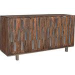 Coast 2 Coast Imports - Brownstone 4-Door Credenza - Create a unique focal point in a modern living space with the Brownstone Sideboard. Made from sheesham, a hardwood prized for its distinctive grain structure, it is decorated with slender mirror glass panels. The sideboard has four cupboards for storing serveware or media equipment and cutouts for easy cable management.