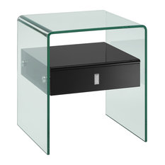Casabianca Home Bari Collection Nightstand/End Table High Gloss Black Lacque