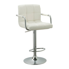 Ac Pacific Corporation Contemporary Adjule Swivel Arm Bar Stool With Cushion White