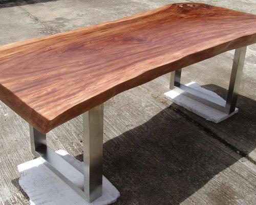 Reclaimed Solid Slab Acacia Wood Dining Table By Flowbkk
