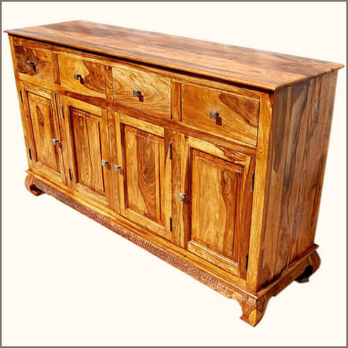 Sierralivingconcepts   Rustic Furniture Solid Wood 4 Storage Drawer  Sideboard Buffet Cabinet   Buffets And Sideboards