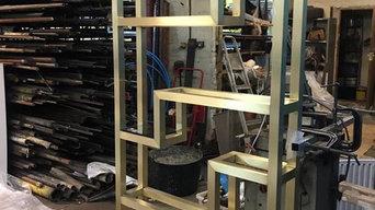 Bespoke brass bookcase.