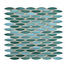 "SomerTile 12""x12.5"" Pescado Glossy Ceramic Mosaic Floor and Wall Tile, Aqua"