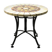 Outdoor Interiors St1 and the Hardwoods H1ycomb Marble Mosaic Accent Table