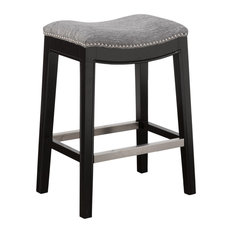 Madison Park Belfast Saddle Counter Stool, Gray