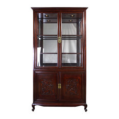 consigned Chinese Antique Carved Rosewood Display/Curio Cabinet