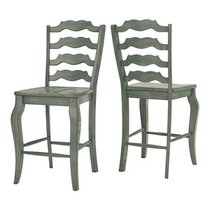 Arbor Hill French Ladder Back Counter Chair, Set of 2, Antique Sage Green