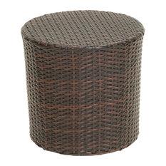 gdfstudio barrel outdoor table brown outdoor side tables