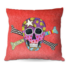 DiaNoche Outdoor Pillows by Marley Ungaro Skull and Cross Bones Watermelon