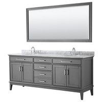 "80"" Double Bathroom Vanity, Dark Gray,Carrara Marble Top,Oval Sinks,70"" Mirror"