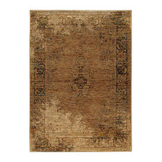 """Andorra Antiqued Traditions Gold and Brown Area Rug, 6'7""""x9'6"""""""