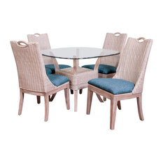 Belize 5 Pc Dining Set In Rustic Driftwood, Daphnie Blue
