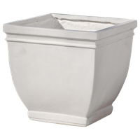 GDF Studio Leo Outdoor Antique White Finished Cast Stone Planter