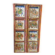 Mogul Interior - Consigned Hand Carved Panels Indian Princess Jhansi On Horse, Door Panels - Interior Doors