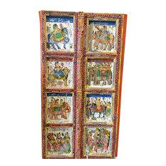 Mogul Interior - Consigned Hand Carved Panels Indian Princess Jhansi On Horse, Door Panels - Interior Doors