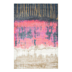 """Vintage Abstract Color Block Rug, Pink, 5'3""""x7'7"""""""