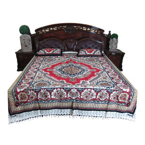 Mogul Interior - Bed Sheet Indian Print 100% Cotton Bed Cover Ethnic Bedspread - Quilts And Quilt Sets