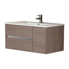 """Eviva Aries 39"""" Medium Oak Vanity With Sink"""