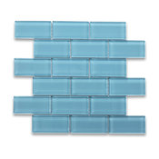 "Country Blue 2""x4"" Subway Glass Mosaic Tile"