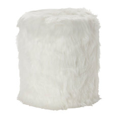 """Round White Faux Fur Accent Stool With Storage, 17"""" X 19"""""""