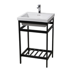 New South Beach 24 Stainless Steel Open Console with Sink Set, Black
