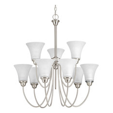 Tally 9-Light 2-Tier Chandelier Brushed Nickel Etched White Linen G