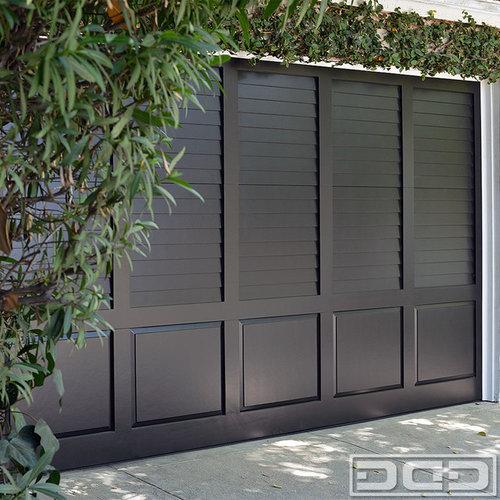 Custom Traditional Plantation Shutter Style Garage Door