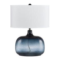 150W 3 Way Christi Blue Glass Table Lamp, Blue Finish, White