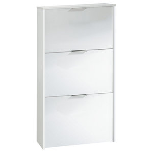 Tall Shoe Cabinet With 3 Drawers, White