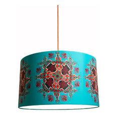 Abara Fabric Drum Lampshade, Turquoise