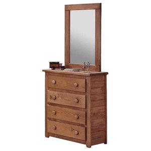 Jumbo Dresser and Mirror Set in Mahogany