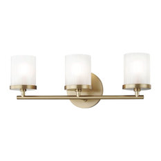 Ryan 3-Light Bath Light, Aged Brass Finish, Clear Frosted Glass Shade