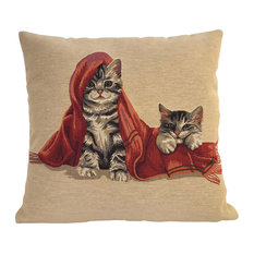Grey Tabby Cat and Red Blanket Cushion