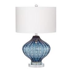 Pacific Coast Jewel Of The Sea Smoke Blue Art Glass Table Lamp
