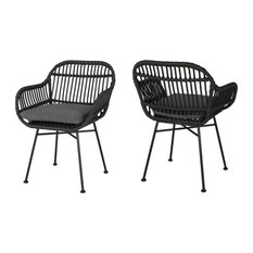 Rodney Outdoor Woven Faux Rattan Chairs With Cushions, Set of 2, Gray/Dark Gray/