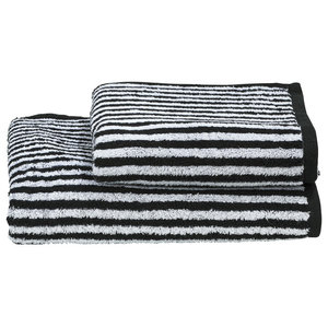 Stripes Towel Collection, Black and White, Set of 2