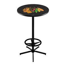 Chicago Blackhawks Pub Table w/Black Background 28-inch by Holland Bar Stool Company