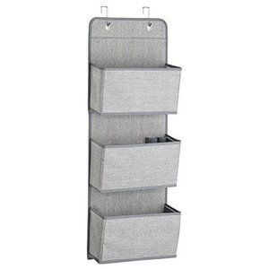 Wall Display Storage Upholstered, Grey Finished Linen Fabric With 3-Pocket