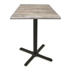"OD211 - 36"" Black Wrinkle Indoor/Outdoor Table, Graystone Top"