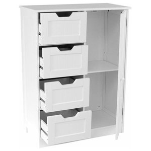 Floor Standing Cabinet Unit in MDF with White Finish, 4 Drawers and 1 Door