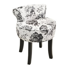 Black Rose Low Back Padded Dressing Chair