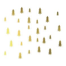 Nicolasito.es - Mini Pine Tree Stickers, 21x30 cm, Gold - Children's Wall Art