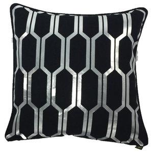 Honey Metallic Cushion Cover, Black and Silver