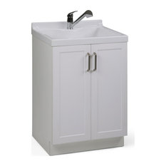"""Kyle 24"""" Cabinet With Pull-out Faucet, ABS Sink, Pure White"""