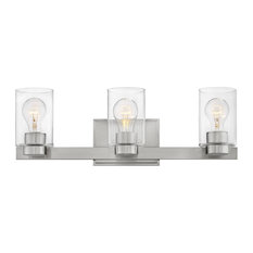 Hinkley Miley Bath 3-Light Vanity, Brushed Nickel With Clear Glass