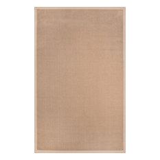 Natural Fiber Reversible Cotton Border Jute Rug, 6'x9'