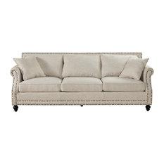1st Avenue - Balham Linen Sofa, Beige - Sofas
