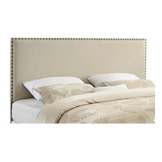 Linon Contempo King Upholstered Headboard In Natural Beige