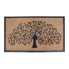 "Rubber and Coir Molded Double Doormat-Shredding leaf Design, Beige,black, 30""x47"