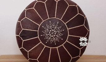 Premium Handmade Moroccan leather Pouf Ottoman DARK BROWN,01